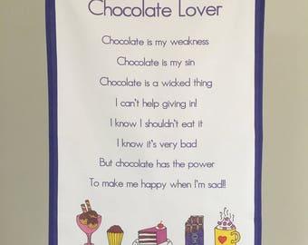 Chocoholic etsy easter gift chocolate lover tea towel tea towel kitchen towel kitchen gift negle Images