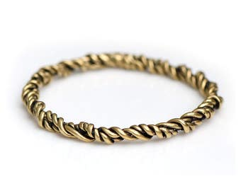 Nautical Twisted Rope Brass Bangle