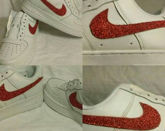 Glitter White and Res Air Force Ones