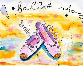 Art Print Ballet Shoes Watercolour Sketch