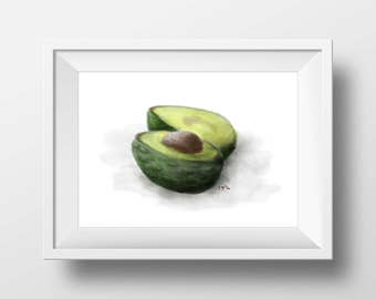 Sliced Avocado Printable Wall Art Digital Download A3 size 11.69 x 16.53 inches Image for Kitchen decoration