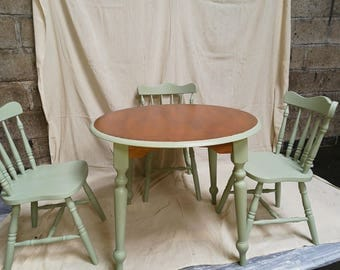 REDUCED Vintage, Upcycle, Shabby Chic, Pine, Oval Table, Three Farmhouse Chairs, REDUCED