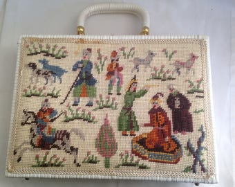 Needle point Handbag with East Indian Motif