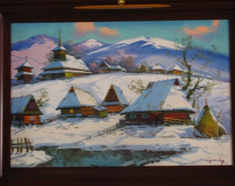Original Oil Painting Winter Contemporary Art blue