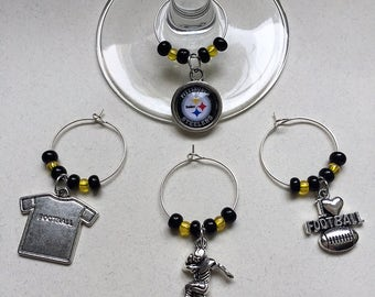 Steelers Black and Yellow Football Themed Wine Charms