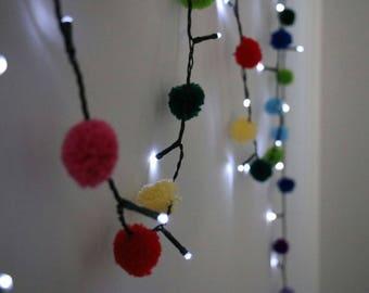 Rainbow Pom Pom LED Fairy Lights