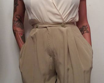 On hold*1980s Cream and olive culottes