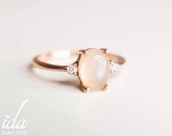 Moonstone Engagement Ring - Rose Gold Engagement Ring - Diamond Engagement Ring - Rings - Cluster Ring - Engagement Rings for Women