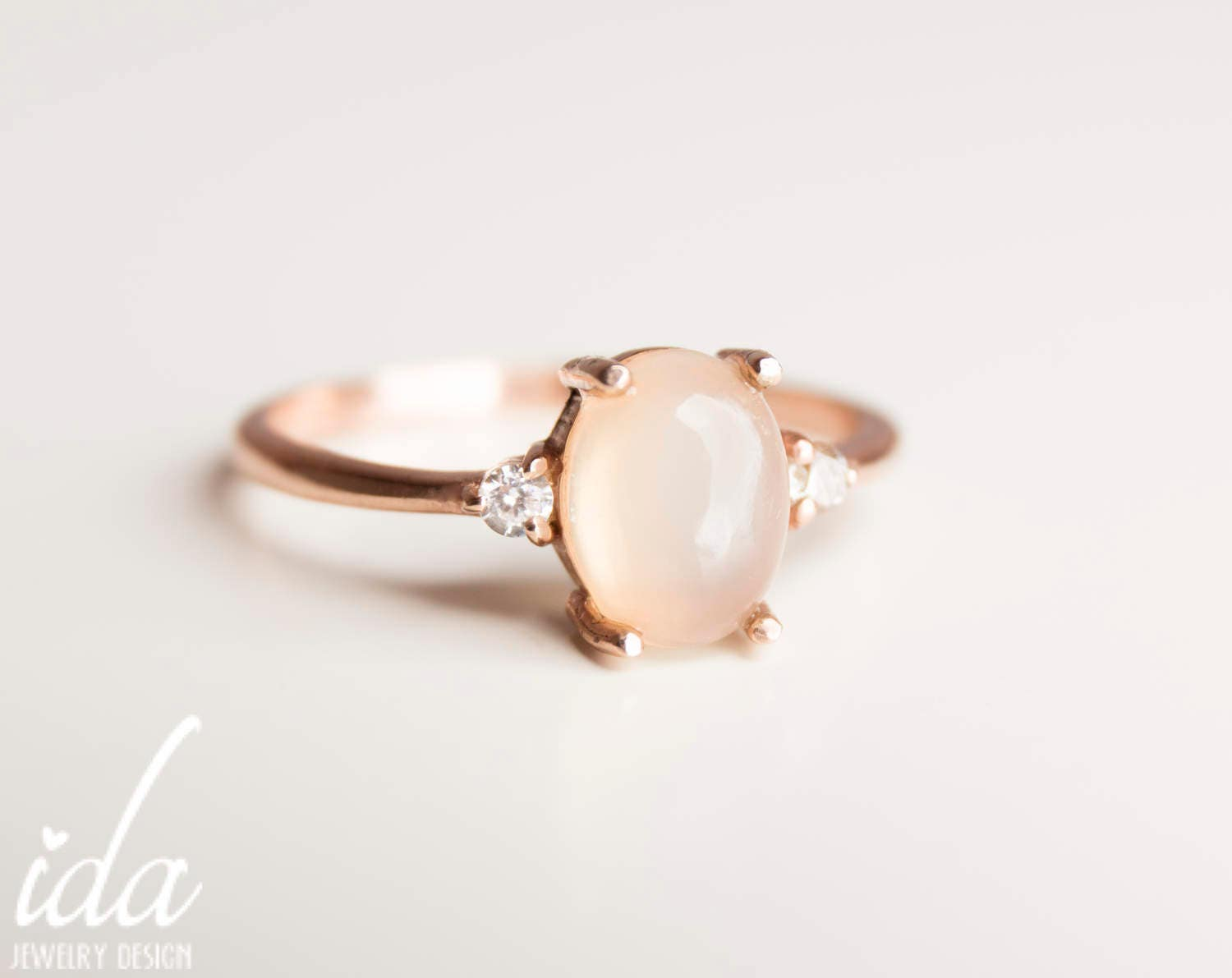 moonstone engagement ring rose gold engagement ring
