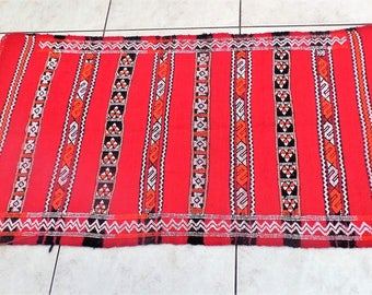 Moroccan Rug Carpet Red color rectangle 100% handmade with pure Kilim wool