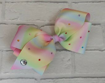 "Girls large 8"" inch pastel rainbow boutique hair bow with diamantés like JoJo Siwa Bows Signature Keeper Dance Moms"