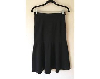 Sonia Rykiel Skirt/ Vintage Skirt/ Wool Skirt/ Ruffle Skirt / Black Skirt/ Peplum Skirt/ Designer Skirt