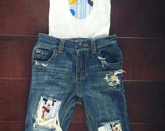 Mickey mouse distressed denim baby boy/toddler boy outfit/ matching onsie/tshirt/ photography prop/birthday outfit/cake smash/baby gift