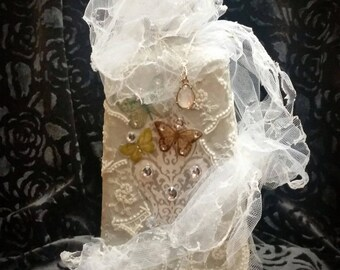Bottlefull of Butterfly Bliss - Enchanted Shabby Chic Bottle