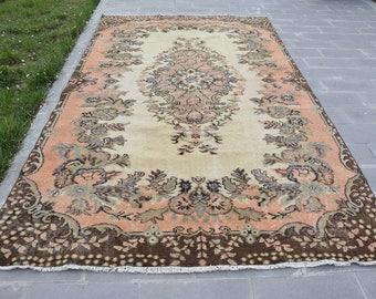 Faded Rug 5.6' x 10.1' Muted Rug Vintage Oushak Rug Pale Color Turkish Carpet Large Rug Oversize Turkish Rug Floor Rug Code 305