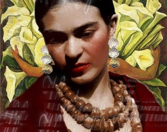 Diego RIvera Painting Fabric Frida Kahlo Antique Photo Mexican Latino Famous Person Quilts Block FK224