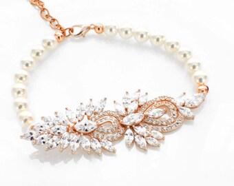 Gold pearl bracelet, gold wedding bracelet, Swarovski pearl jewelry, cubic zirconia bracelet, vintage style, bridal bracelet wedding jewelry