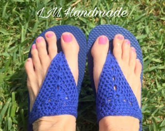 Navy Blue Crocheted Flip Flops