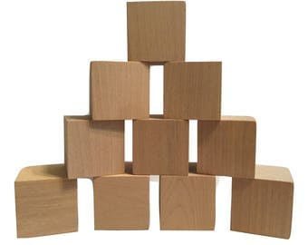 "Wooden Blocks, 10 pieces, 2""x2""x2"", Wooden Craft Blocks, Made in USA, Natural Hardwoods, by Crossroad Sales"
