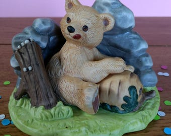 SALE Woodland Surprises Bear Vintage 1980's Ornament Franklin Porcelain