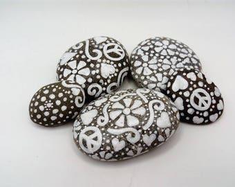 pebble art white painted stones