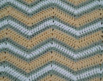 Handmade, Crochetted, Chevron Baby Blanket