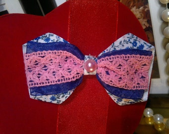 Vintage inspired Blue floral, pink lace Handmade Hair Bow