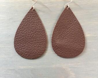 Maroon Macaroons Leather Earrings