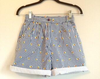High Waisted Striped Beach Ball Shorts