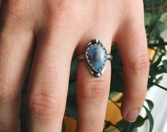 Teardrop Snowy Dendritic Agate Ring (slighty smaller than sz 7)