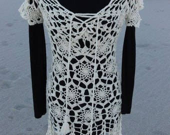 Dress 100% cotton crochet beige