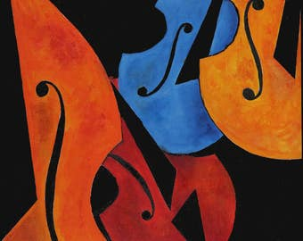 FIDDLE FEST  - Archival Artist Print on paper (unframed)    Great gift for the violinist, violist, cellist, bass player, and music lover