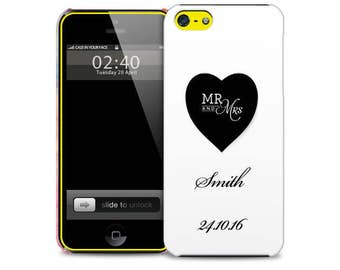Personalised Wedding, His, Hers, Mrs Mrs, Married, Black Heart, White  Protective Glossy Phone Cover Case to fit iPhone iP Samsung Galaxy GS