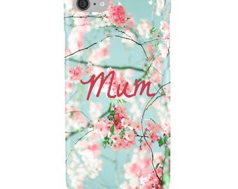 Personalised Floral, Flower,  Pink, Blue, White - Initial/s or Name of your choice - Glossy Phone Cover Case, Mobile