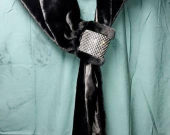 Fur Shall with Diamond Studs