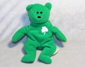 VINTAGE Green St Patrick TY Miniature Beanie Bear. 1993 TY Bear.