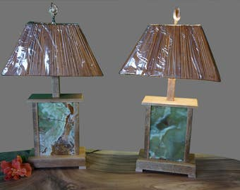Reclaimed Mango Wood and Tile Lamps