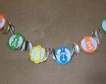 Easter Rosette, Easter Decor, Easter Banner, Happy Easter, Easter Party Banner, Easter Garland, Bunny Banner, Easter  Sign, Spring Decor
