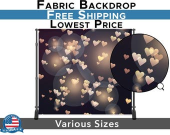 Pink Bokeh Heart Backdrop- Fabric Photography Studio  Background - Photo Shoot Quality- Portrait Wedding Fashion Birthday Photoshoot Prop