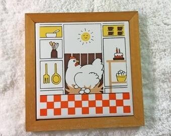 Vintage Chicken Tile Trivet / Framed Decorative Tile / orange and white checked / happy plump hen sitting on nest of eggs / kitchen