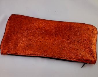 Copper Metallic Leather Bag, Supressor Bag, Cosmetic Bag, Feminine Bag, Car Bag