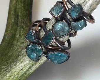 Rough Apatite Ring | Raw Gemstone Ring | Blue Apatite Ring | Apatite Ring | Blue Apatite Jewelry | Raw Apatite Jewelry