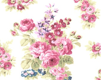 Anne of Green Gables Rose Flower Cluster on Cream 100% Cotton Fabric - FQ