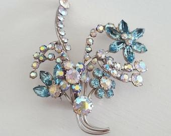 Sparkly Layered Rhinestone Floral Brooch