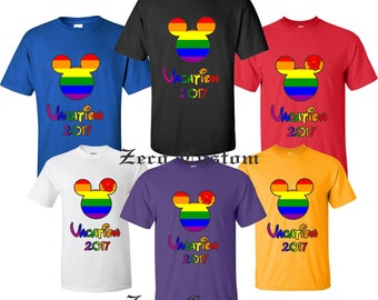 Rainbow  VACATION 2017 DISNEY Gay Pride  T-shirt Cool New All Sizes