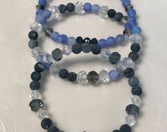 Blue & black agate with crysyals - stacking braclets - avoid danger , reduce discomfort , honesty