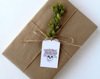 Floral Skull Gift Tags - Parcel Tags - Gift Wrap - Digital Download