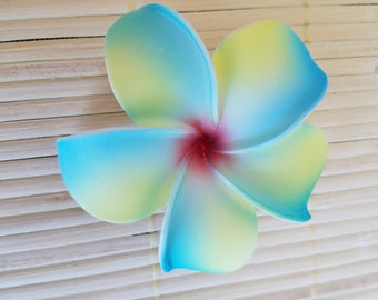 Plumeria Hair Clip in Yellow and Turquoise- Small