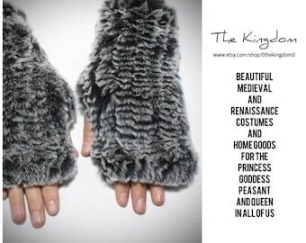 The Mirabella Rabbit Fur Mittens/Brown/Genuine Rabbit Fingerless Gloves/Renaissance Faire Attire/Historical Medieval Garb Costume/TheKingdom