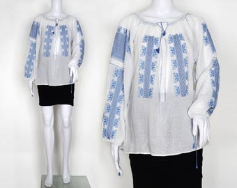 1930s White Cotton Romanian Embroidered Blouse